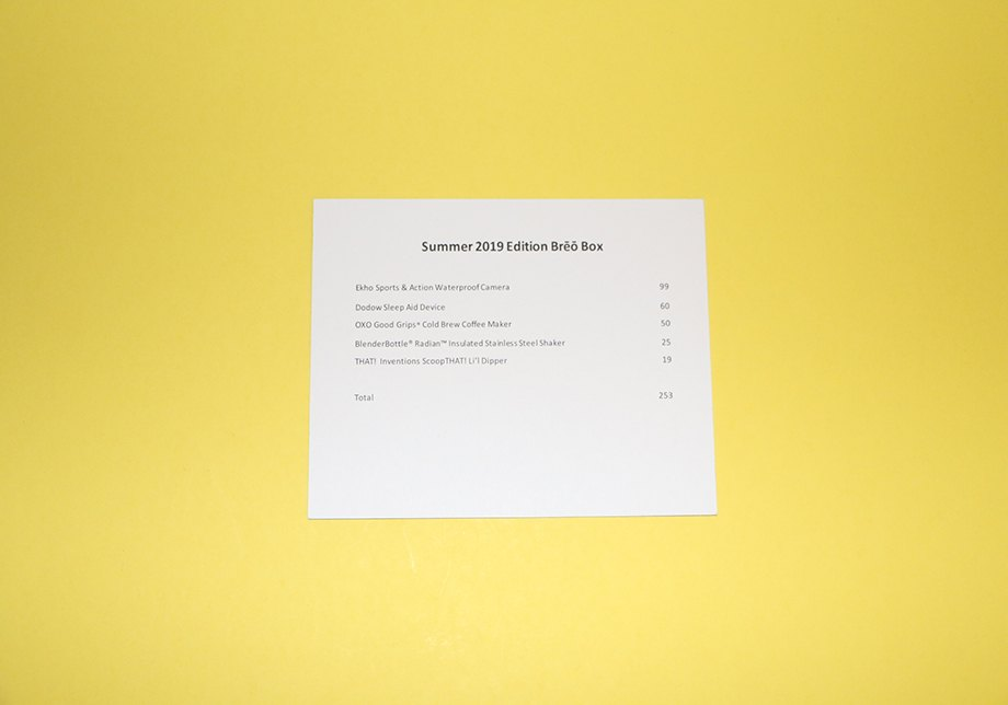 Breo Box Summer 2019 Card Product List